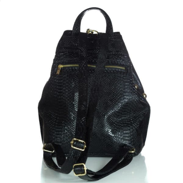 BACKPACK CROCO PATTERN BLACK-GOLD