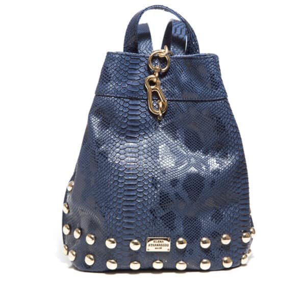 BACKPACK CROCO PATTERN NAVY BLUE