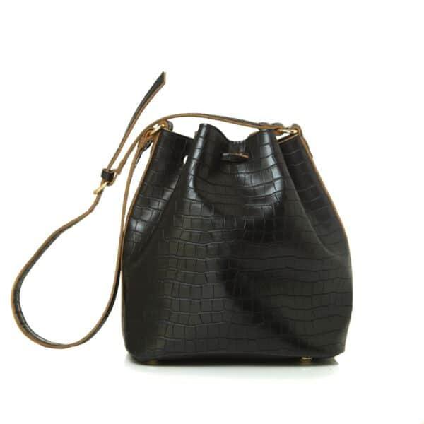 POUCH BAG CROCO PATTERN BLACK