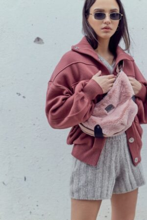 Fluffy Bοdy Bag Baby Pink Small Size