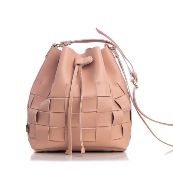 Straw Pouch Bag Baby Pink