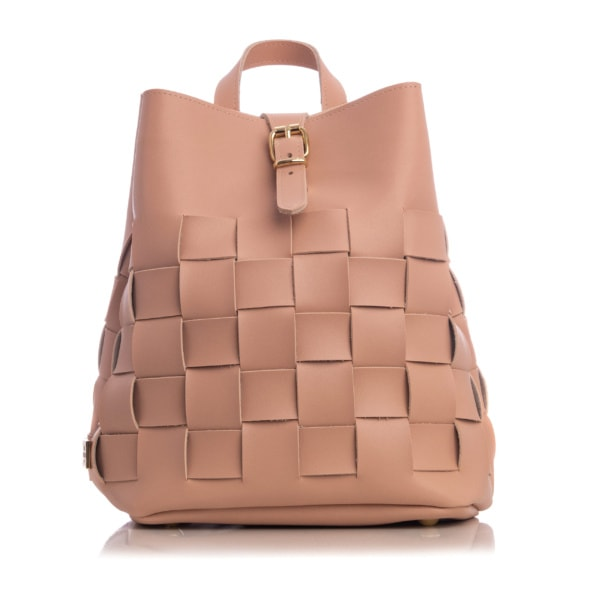 Straw Backpack Baby Pink