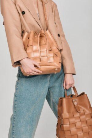 Straw Pouch Bag Caramela