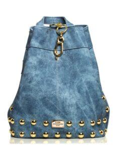 Backpack Jean Pattern Blue -Gold